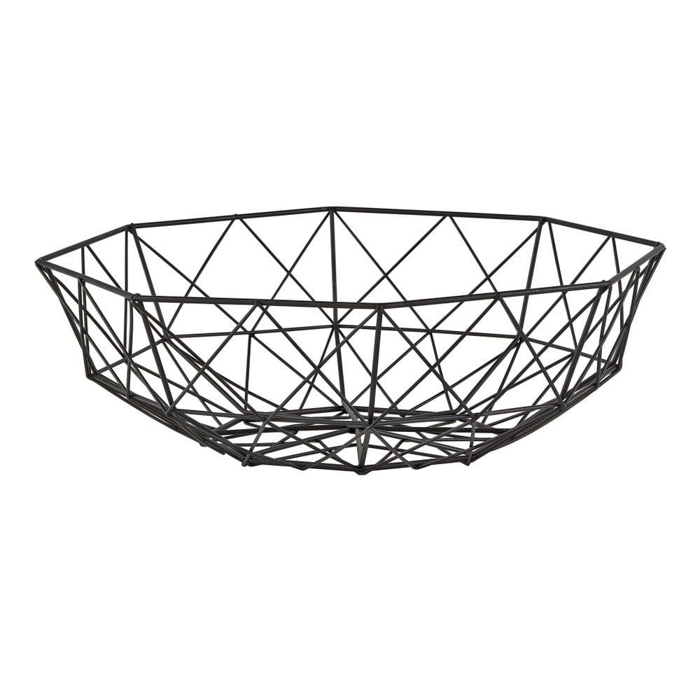 Černý dekorační košík KJ Collection Lines, ⌀31cm