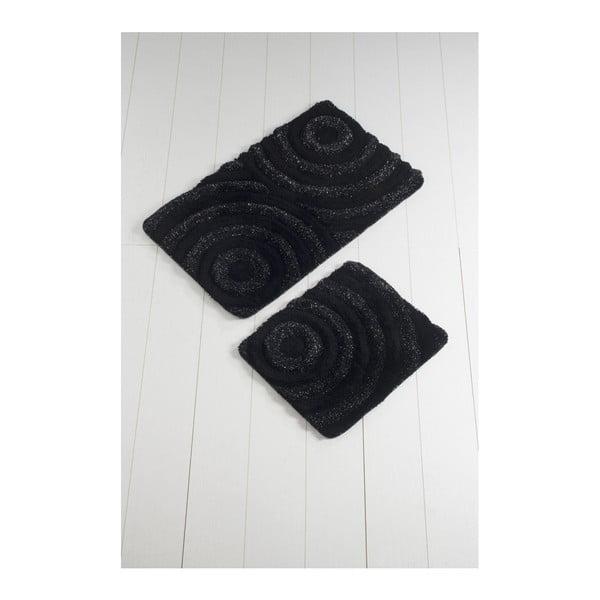 Komplet 2 czarnych dywaników łazienkowych Duro Lento