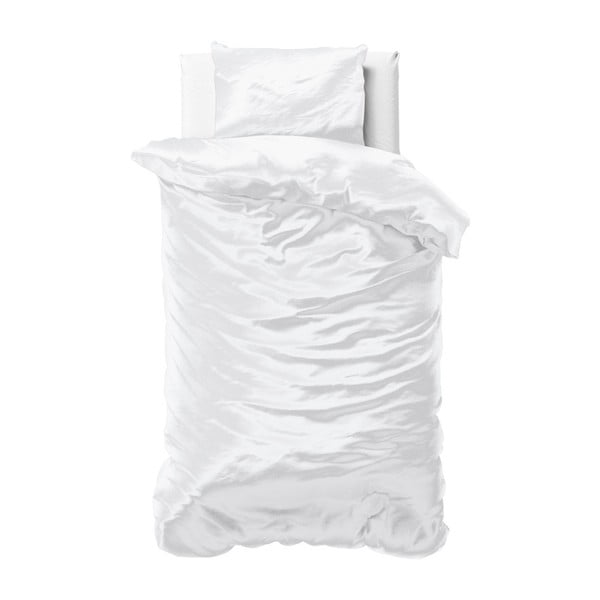 Bílé povlečení ze saténového mikroperkálu na jednolůžko Sleeptime, 140x220 cm