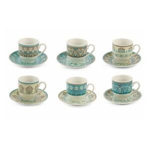 Set 6 cești pentru espresso și farfurioare din porțelanVilla d'Este Cala, 90 ml
