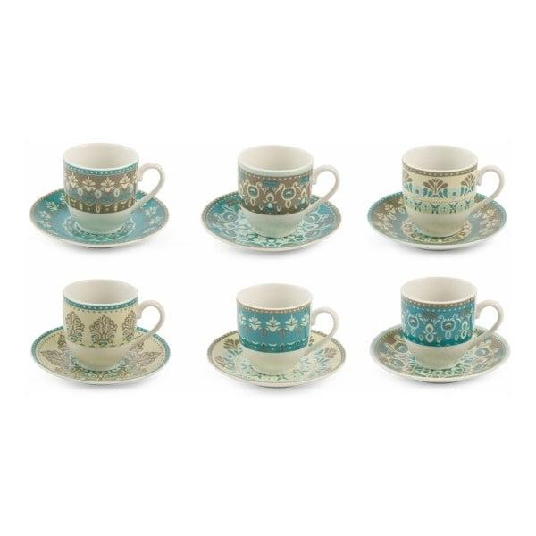 Sada 6 porcelánových šálok na espresso s tanierikmi Villa d'Este Cala, 90 ml