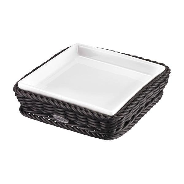Porcelánová servírovací miska v košíku Korb Quadra, tmavá