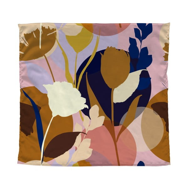 Farebná šatka Madre Selva Flowers, 55×55 cm
