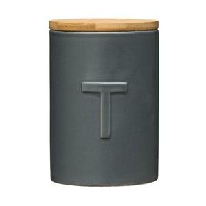Tmavě šedá dóza na čaj s bambusovým víkem Premier Housewares Fenwick