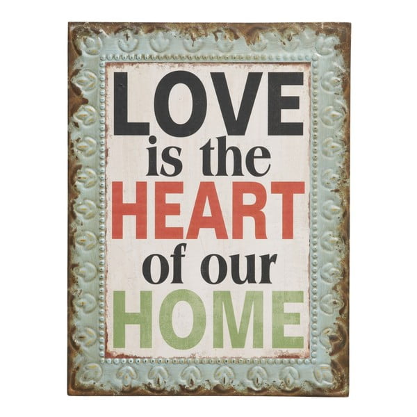 """Cedule Love is the heart of our home"""", 43x33 cm"""