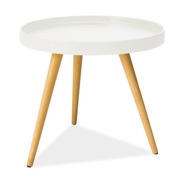 Bílý odkládací stolek s nohama z kaučukového dřeva Signal Toni, ⌀50cm