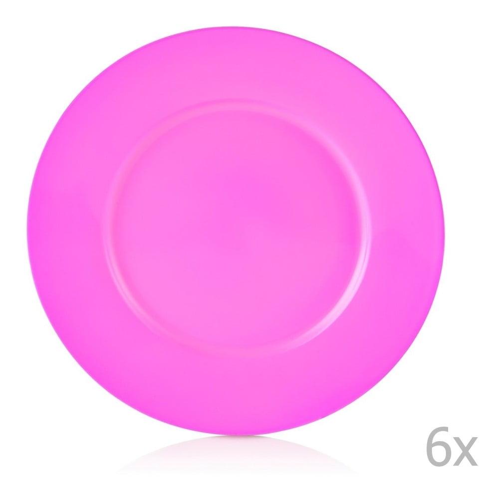 Sada 6 růžových porcelánových talířů Efrasia