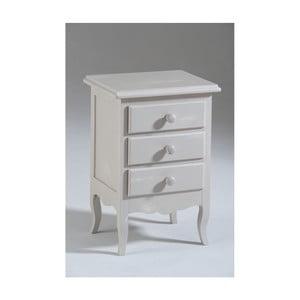 Krémový dřevěný noční stolek se 3 zásuvkami Castagnetti Nadine