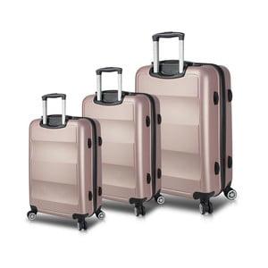 Sada 3 růžových cestovních kufrů na kolečkách s USB porty My Valice LASSO Travel Set