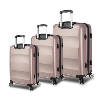 Set 3 valize cu roți și port USB My Valice LASSO Travel Set, roz de la Myvalice