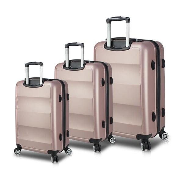 LASSO Travel Set 3 rózsaszín görgős bőrönd USB csatlakozóval - My Valice