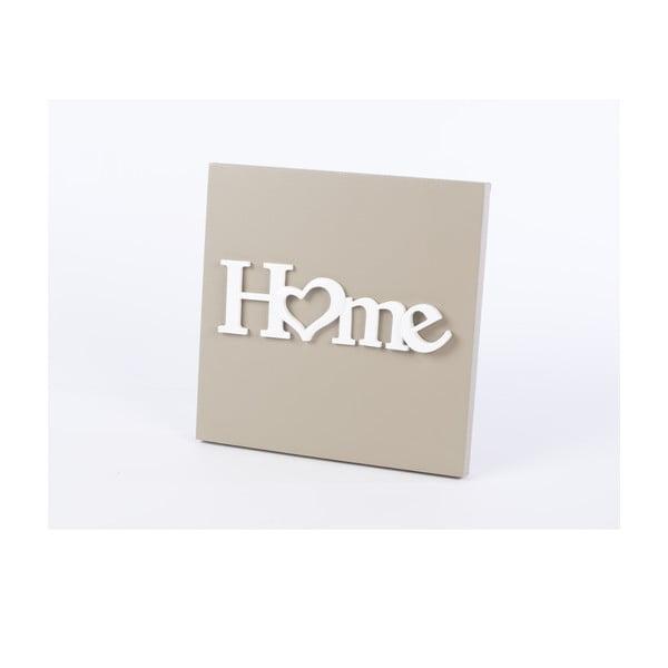 Dřevěný obraz Home 30x30 cm, béžový