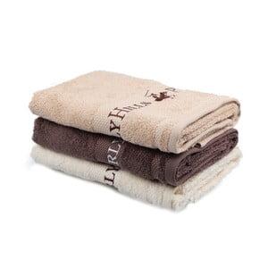 Sada béžového, hnědého a krémového ručníku Beverly Hills Polo Club Tommy Yazi, 50x100cm