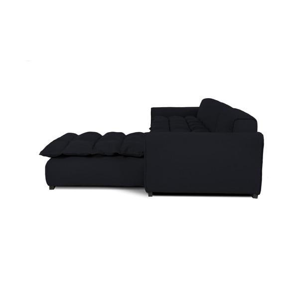 Černá pohovka pro tři s lenoškou na pravé straně Vivonita Cloud