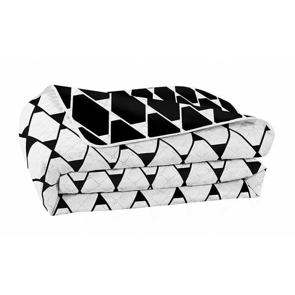 Černobílý oboustranný přehoz z mikrovlákna DecoKing Hypnosis Art Deco, 170x210cm
