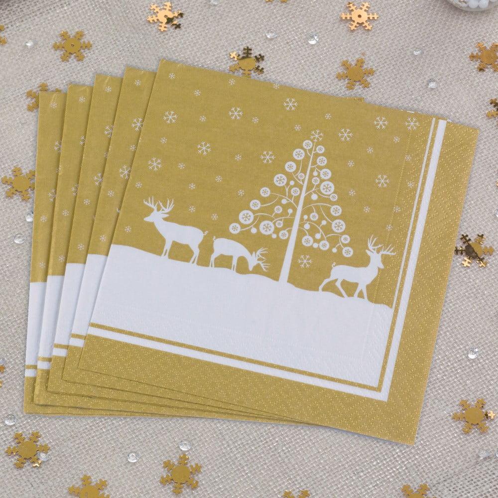 Sada 20 papírových ubrousků Neviti Winter Wonderland, 16,5x16,5cm