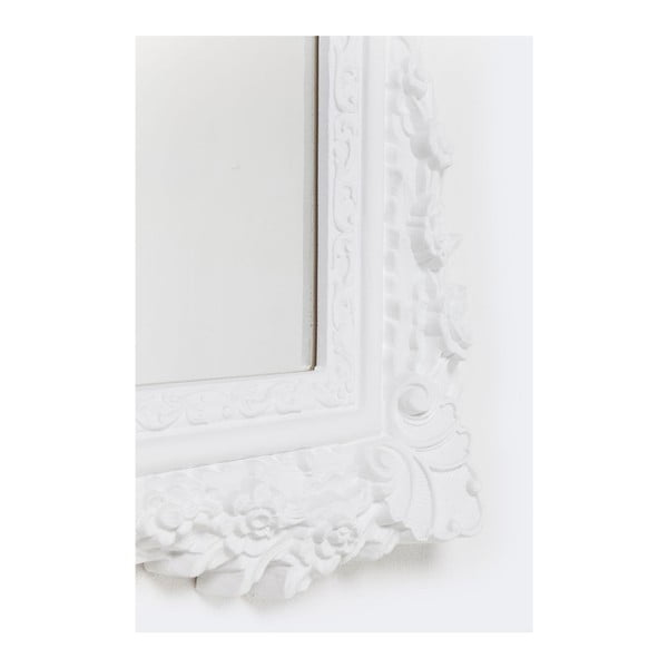 Bílé nástěnné zrcadlo Kare Design Fiore, 89x109cm