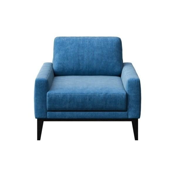 Modré křeslo s dřevěnými nohami MESONICA Musso Regular