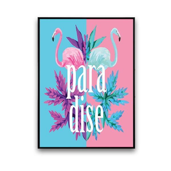 Modro-růžový plakát s plameňáky Paradise, 30 x 40 cm