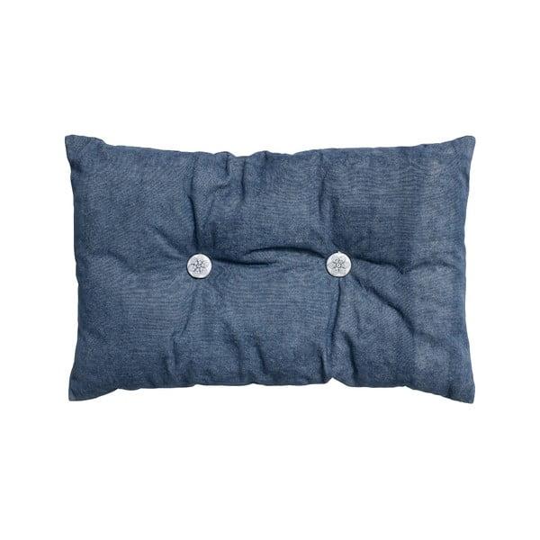 Polštář s výplní Button 65x40 cm, modrý
