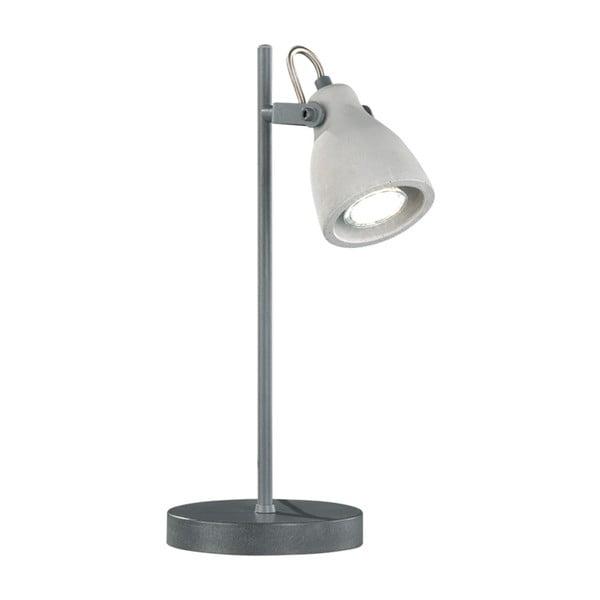 Sivá stolová lampa Trio Concrete, výška 38 cm