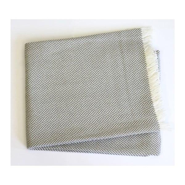 Světle šedý pléd s podílem bavlny Euromant Skyline, 140x180cm
