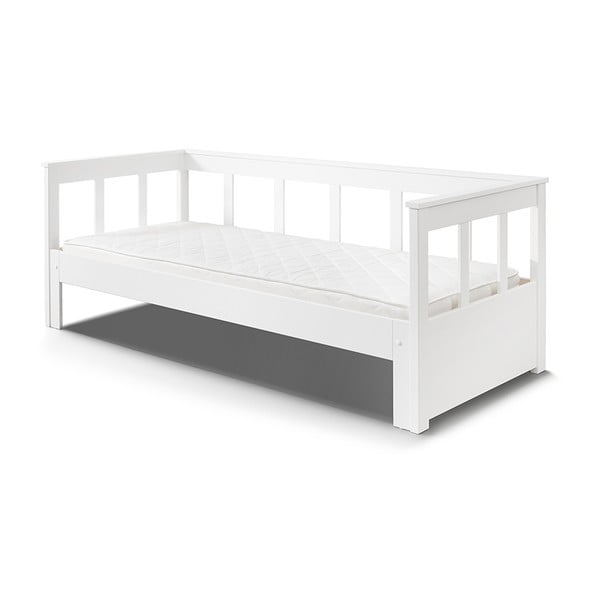 Bílá rozkládací postel z masivního borovicového dřeva Vipack Pino, 200 x 90 cm