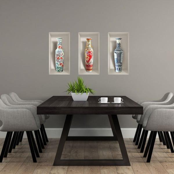 Sada 3 3D samolepek na zeď Ambiance Ceramic Vases