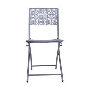 Tmavě šedá kovová zahradní židle Ewax Flower