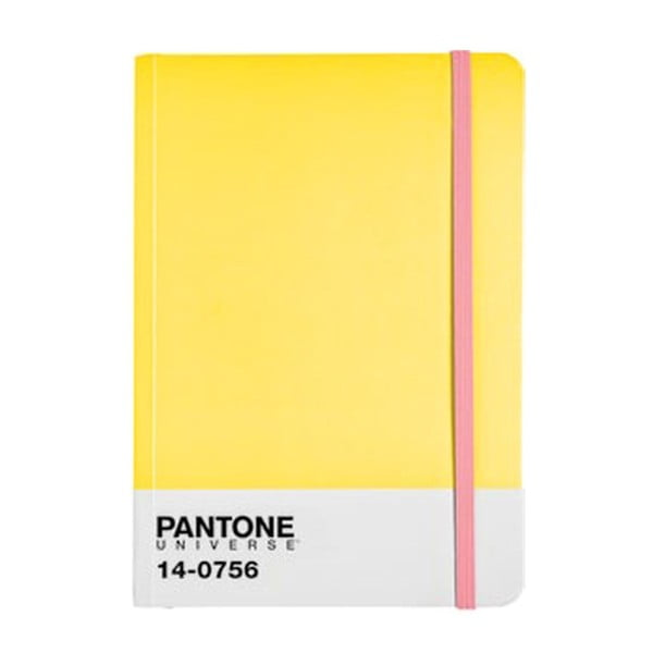Zápisník A4 s barevnou gumičkou Empire Yellow/Bubblegum 14-0756
