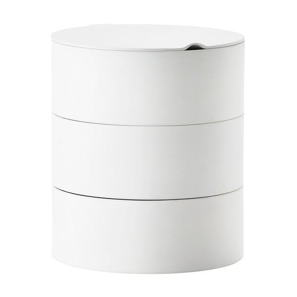Bílý třípatrový úložný box se zrcadlem Zone Slide