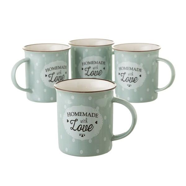 Zeleno-šedý hrneček z kostního porcelánu Unimasa Homemade, 320ml