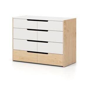 Comodă cu 8 sertare Devoto Nimbo, culoarea lemnului natural - alb