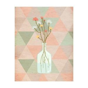 Plakát v dřevěném rámu Flowers in vase, 38x28 cm