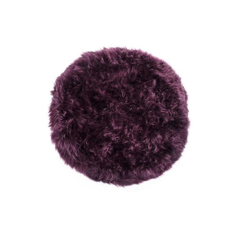 Fialový koberec z ovčí kožešiny Royal Dream Zealand, ⌀ 70 cm