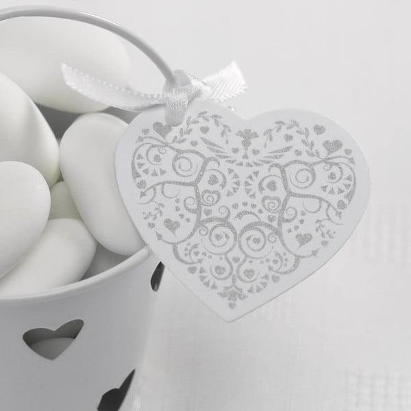 Sada 10 bielo-strieborných visačiek Neviti Vintage Romance