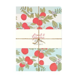 Zápisníky Chronicle Books Fruit & Flowers Notebook, 3 ks