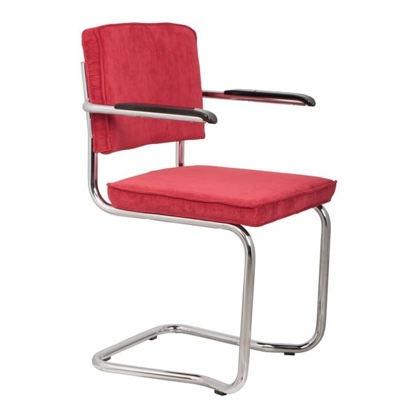 Sada 2 červených židlí s područkami Zuiver Ridge Kink Rib
