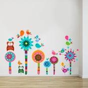 Samolepka na stěnu Kytičky a sovičky, 50x70 cm