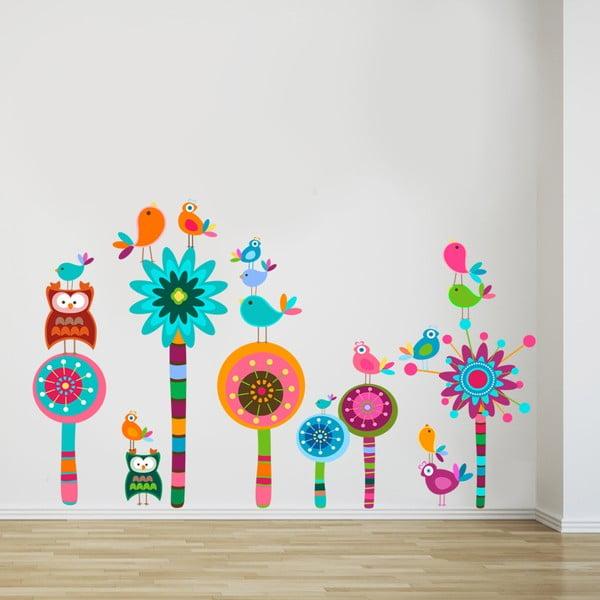 Samolepka na zeď Kyticky a sovičky, 70x50 cm