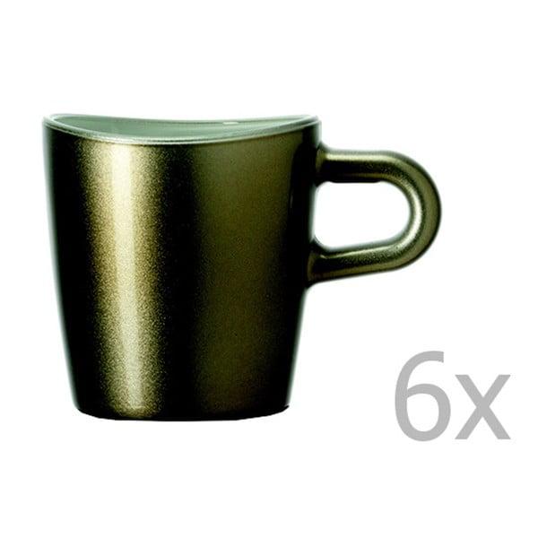 Sada 6 hnědých metalických hrnků na espresso LEONARDO Loop, 75 ml
