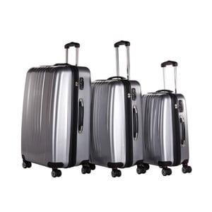 Set 3 trolere Packenger Premium Koffer, argintiu