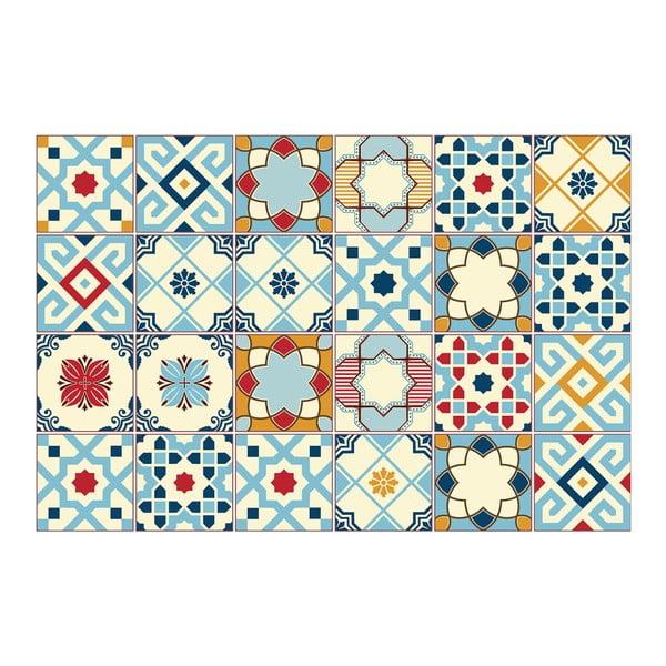 Zestaw 24 naklejek ściennych Ambiance Azulejos Rano, 10x10 cm