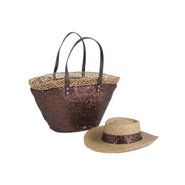 Plážová taška se slamákem Spangle Brown