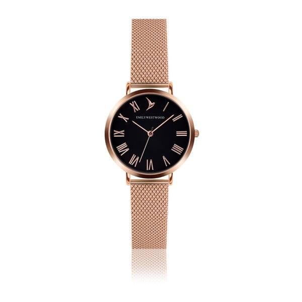 Set dámským hodinek s nerezovým páskem ve zlatorůžové barvě a náramku Emily Westwood Mihna