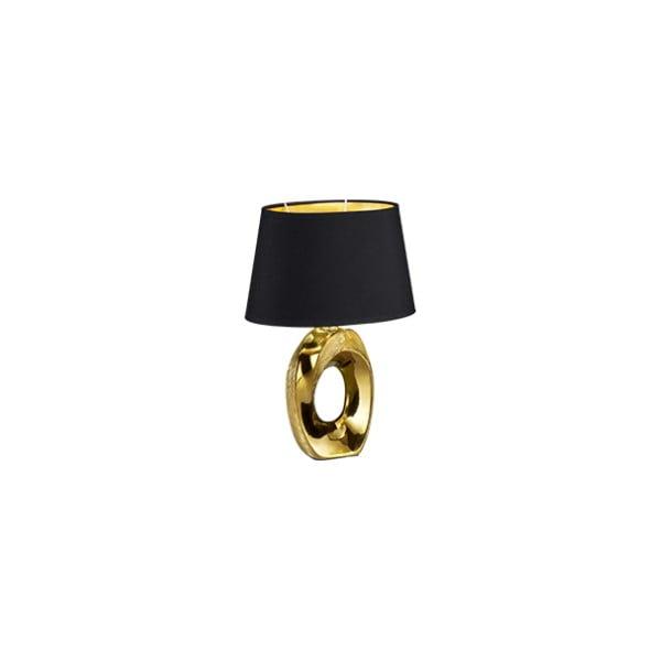 Stolní lampa v černo-zlaté barvě z keramiky a tkaniky Trio Taba, výška 33 cm
