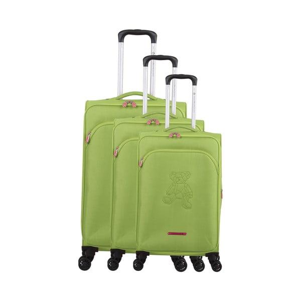 Zestaw 3 zielonych walizek z 4 kółkami Lulucastagnette Emilia