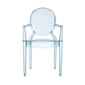 Světle modrá transparentní židle Kartell Lou Lou Ghost