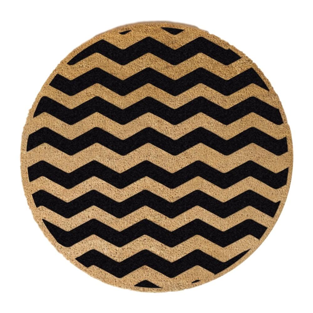 Černá kulatá rohožka z přírodního kokosového vlákna Artsy Doormats Chevron, ⌀70cm