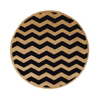 Covor intrare rotund Artsy Doormats Chevron, ⌀ 70 cm, negru